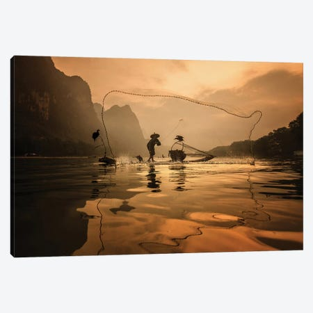 Spread The Fish Nets Canvas Print #OXM5143} by Gunarto Song Canvas Wall Art