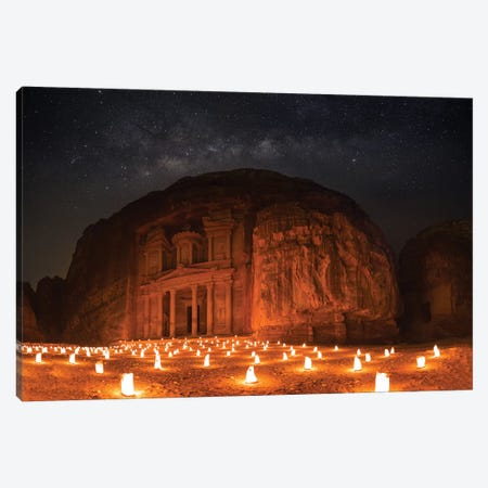 Petra By Night Canvas Print #OXM5237} by Khalid Jamal Canvas Art Print
