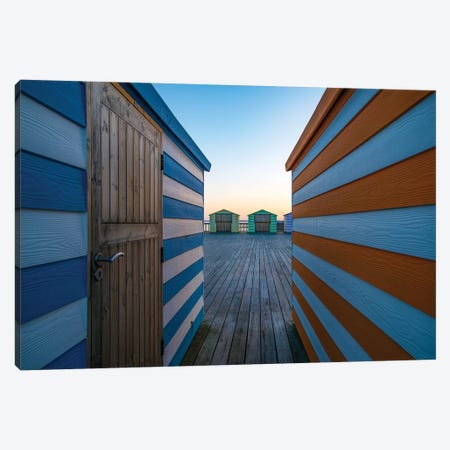 Beach Huts On The Pier Canvas Print #OXM5247} by Linda Wride Canvas Art