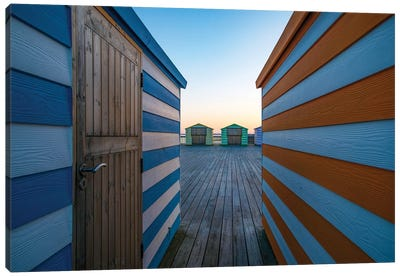 Beach Huts On The Pier Canvas Art Print