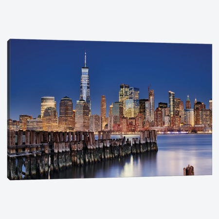 Manhattan Skyline At Night Canvas Print #OXM5268} by Martin Froyda Canvas Art Print