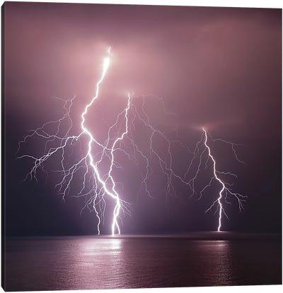Thunderbolt Over The Sea Canvas Art Print