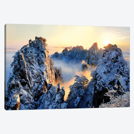 Sunrise At Mt. Huang Shan Canvas Print #OXM5497} by Adam Wong Canvas Art Print