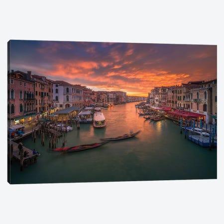 Grand Canal At Sunset ,View From The Rialto Bridge ,Venice Canvas Print #OXM5514} by Anton Calpagiu Canvas Art