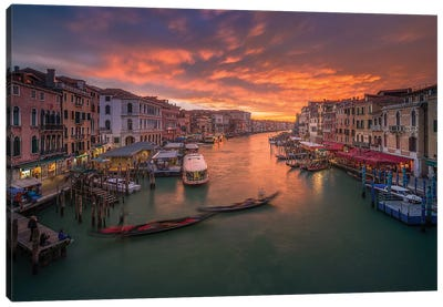 Grand Canal At Sunset ,View From The Rialto Bridge ,Venice Canvas Art Print