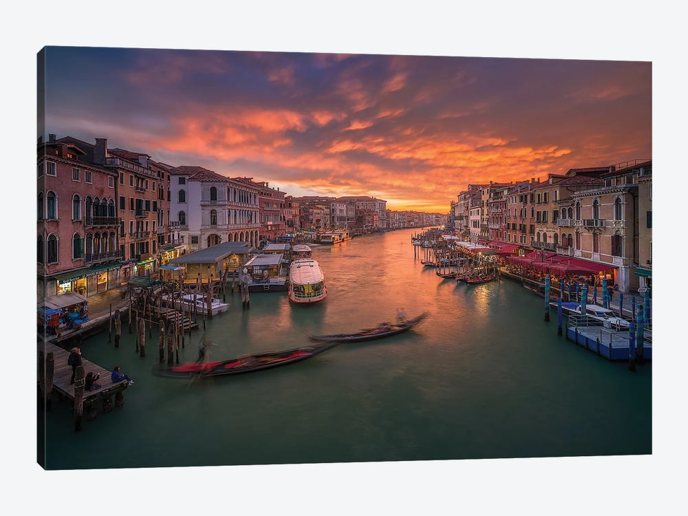 Grand Canal At Sunset ,View From The Rialto Bridge ,Venice by Anton Calpagiu 1-piece Canvas Wall Art