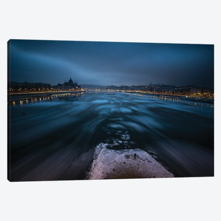 Winter Morning In Budapest 3-Piece Canvas #OXM5522} by Balázs Lukácsi Canvas Art