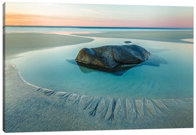 Sunset On Uttakleiv Beach Canvas Art Print