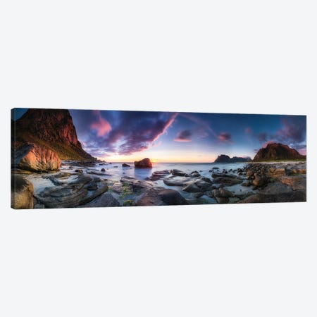 Utakleiv Sunset Canvas Print #OXM5553} by Dr. Nicholas Roemmelt Art Print