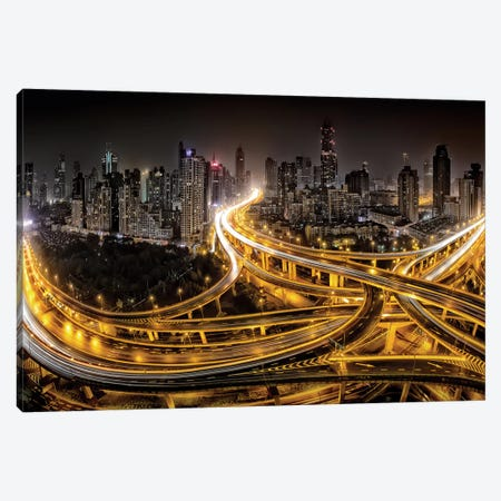 Shanghai At Night Canvas Print #OXM559} by Clemens Geiger Canvas Artwork