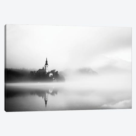 Sunrise At Lake Bled Canvas Print #OXM5606} by Lubos Balazovic Canvas Artwork