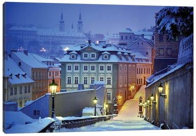 Prague In White Canvas Art Print