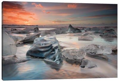 Glacial Lagoon Beach Canvas Art Print