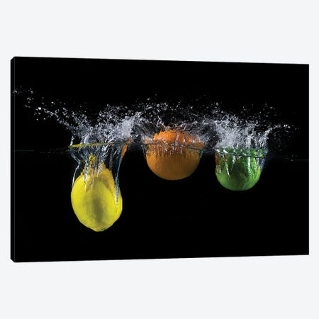Triple Citrus Splash Canvas Print #OXM5644} by Mogyorosi Stefan Canvas Art