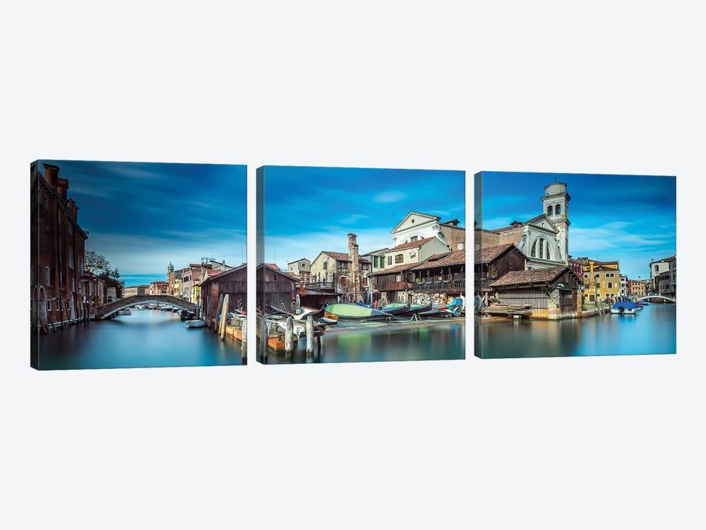 Gondola Workshop In Venice by Sven Kohnke 3-piece Canvas Art Print