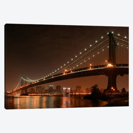 The 2 Lovers Under Manhattan Bridge Canvas Print #OXM56} by Fabien Bravin Canvas Print