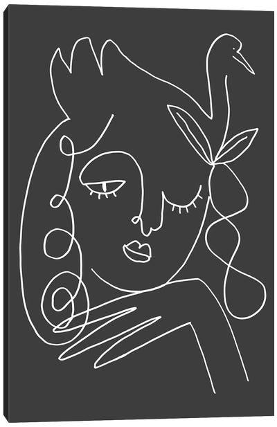 The Swan Black Canvas Art Print