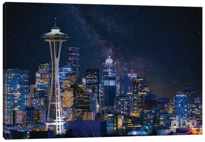 Night At Seattle Canvas Art Print