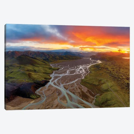 Highland Sunset Canvas Print #OXM5918} by James Bian Canvas Print