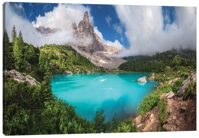 Veneto - Lago Di Sorapis Panorama Canvas Art Print