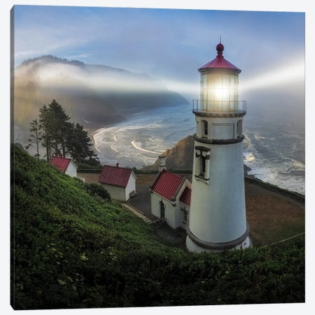 Heceta Head Lighthouse Canvas Print #OXM6079} by Ron Langager Canvas Art