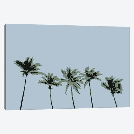 Palms Blue Canvas Print #OXM6185} by 1X Studio Ii Art Print