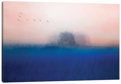The Tree On The Blue Canvas Art Print