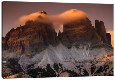 Tre Cime In Cotton Candy Canvas Art Print