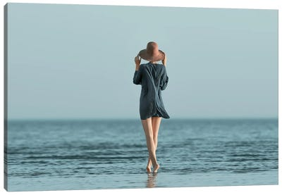 Portrait Of Girl At Sea Summer Canvas Art Print