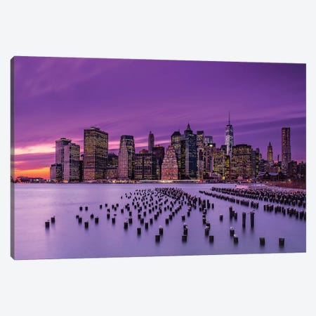 New York Violet Sunset Canvas Print #OXM676} by J.G. Damlow Canvas Artwork