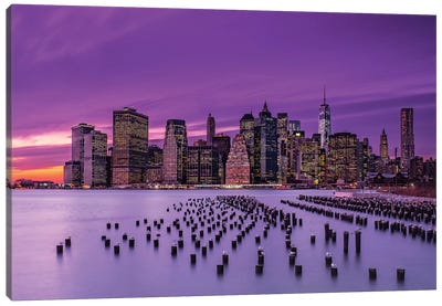 New York Violet Sunset Canvas Art Print