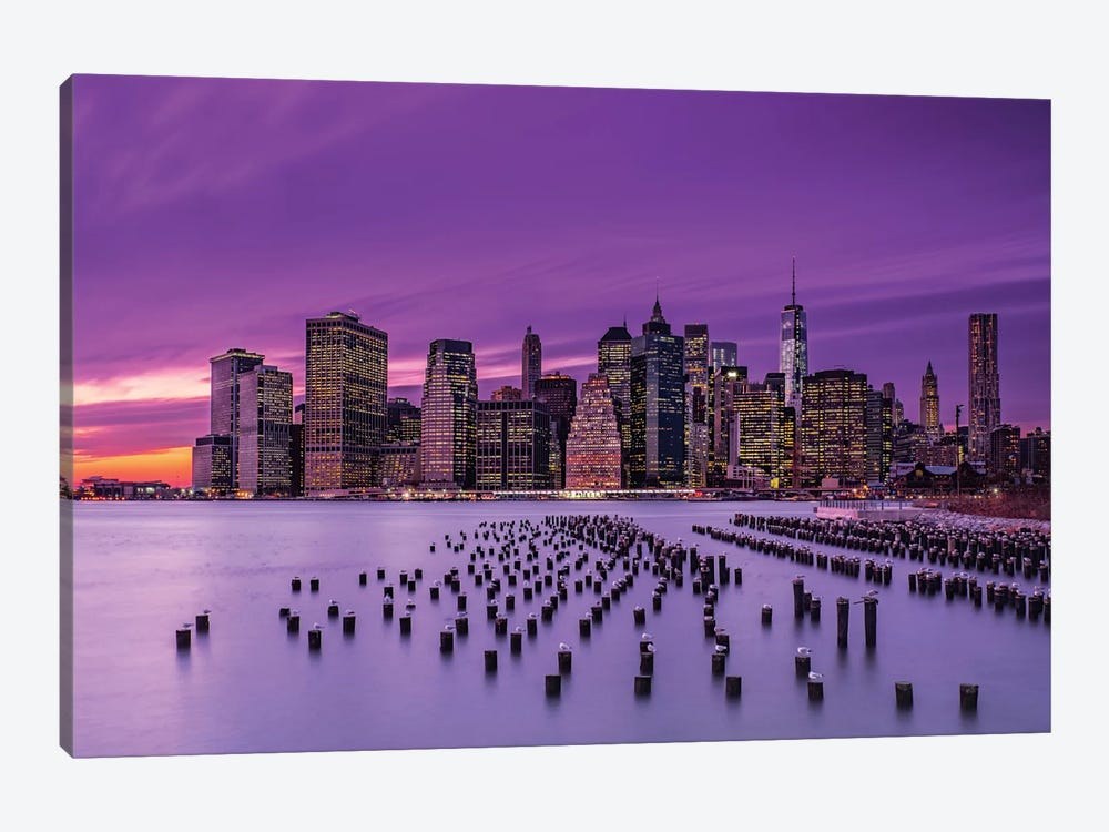 New York Violet Sunset 1-piece Canvas Art