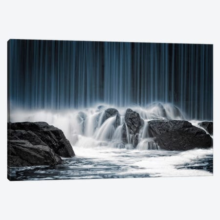 The Blue Curtain Canvas Print #OXM758} by Keijo Savolainen Canvas Wall Art