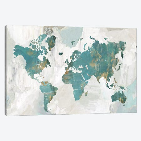Teal World Map  3-Piece Canvas #PAC6} by Pamela Collabera Art Print