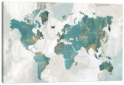 Teal World Map  Canvas Art Print