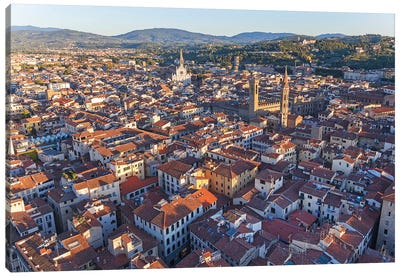 Aerial View Of Historic Center, Florence, Tuscany Region, Italy Canvas Art Print