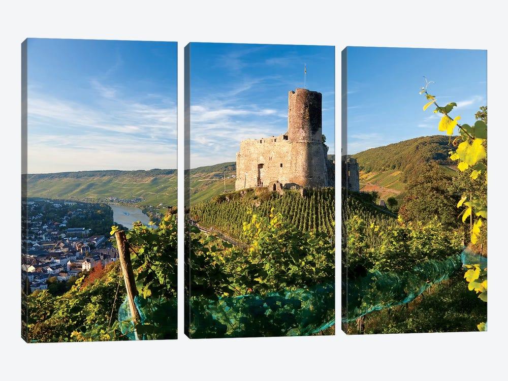 Landshut Castle Above Mosel River, Bernkastel-Kues, Rhineland-Palatinate, Germany by Peter Adams 3-piece Canvas Print