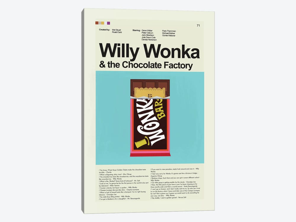 Willy Wonka by Prints and Giggles by Erin Hagerman 1-piece Canvas Print