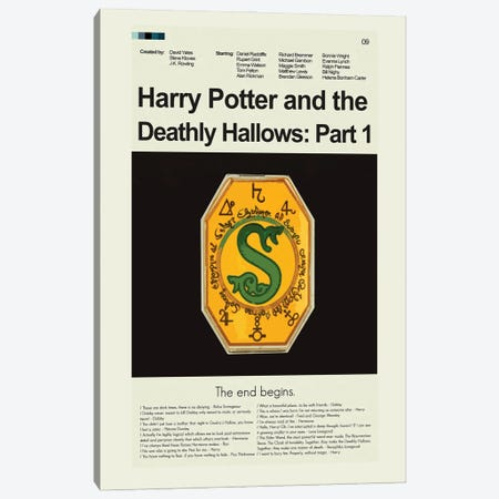Harry Potter And The Deathly Hallows Part 1 Canvas Print #PAG129} by Prints and Giggles by Erin Hagerman Canvas Wall Art