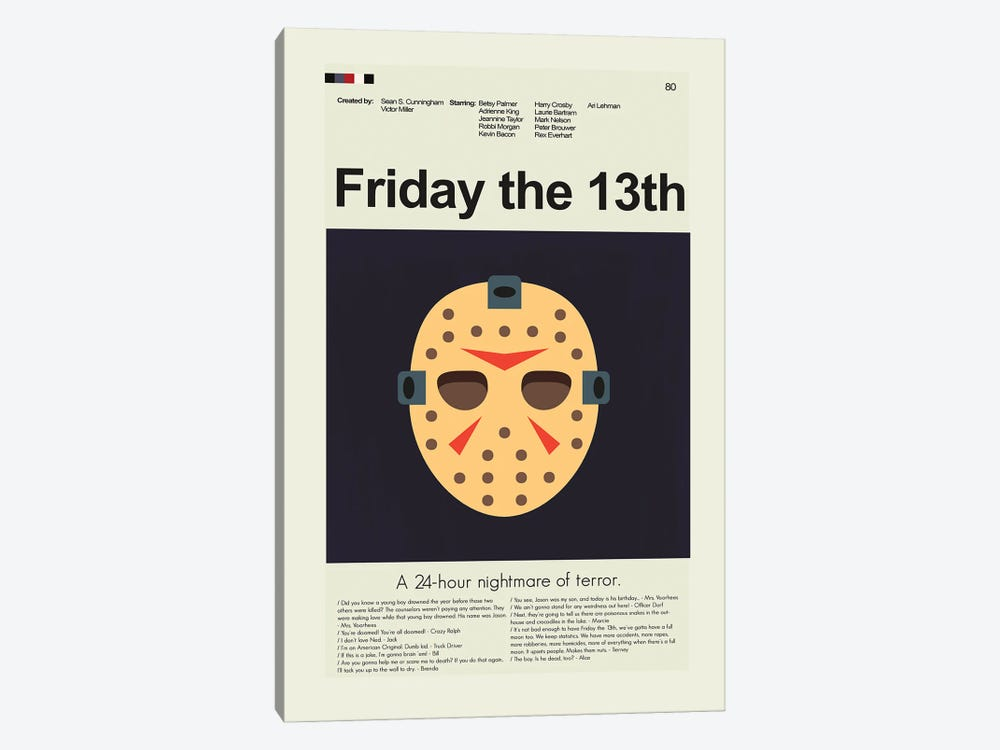 Friday The Thirteenth by Prints and Giggles by Erin Hagerman 1-piece Canvas Print