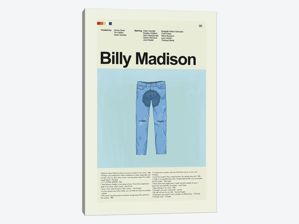 Billy Madison by Prints and Giggles by Erin Hagerman 1-piece Canvas Print