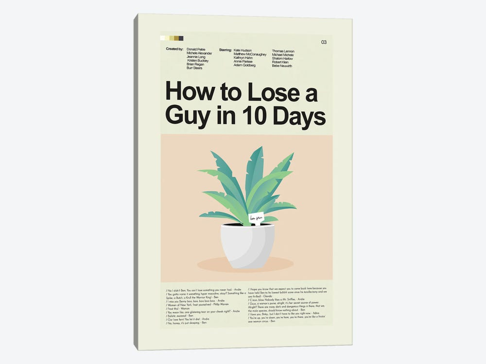 How to Lose a Guy in 10 Days by Prints and Giggles by Erin Hagerman 1-piece Canvas Artwork