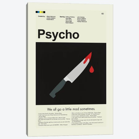 Psycho Canvas Print #PAG204} by Prints and Giggles by Erin Hagerman Canvas Wall Art