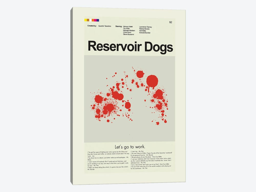 Reservoir Dogs by Prints and Giggles by Erin Hagerman 1-piece Canvas Artwork