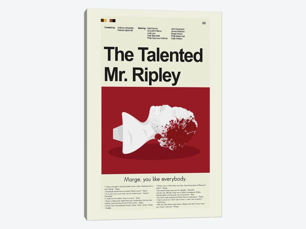 The Talented Mr. Ripley by Prints and Giggles by Erin Hagerman 1-piece Canvas Print