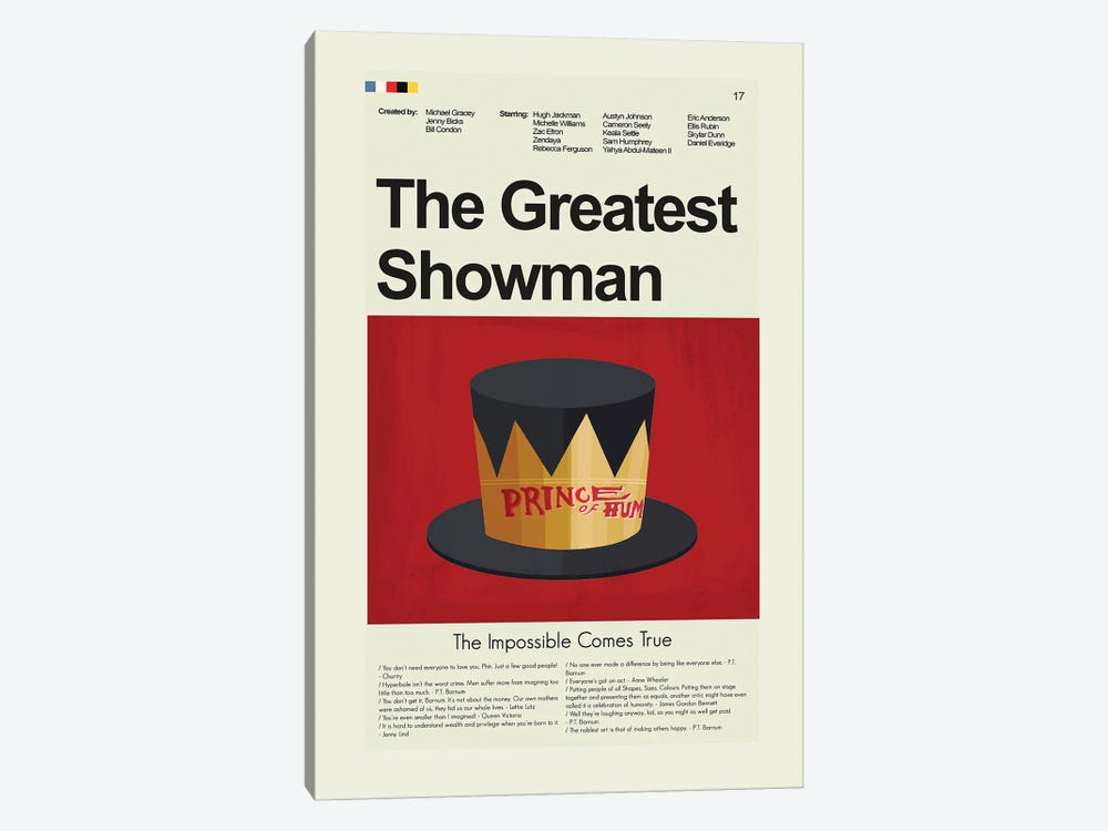 The Greatest Showman by Prints and Giggles by Erin Hagerman 1-piece Canvas Print