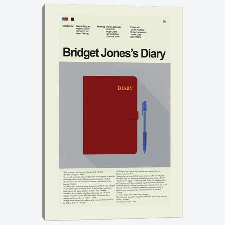 Bridget Jones's Diary Canvas Print #PAG263} by Prints and Giggles by Erin Hagerman Art Print