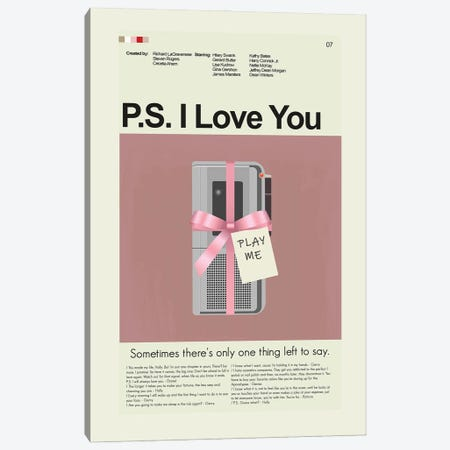 P.S. I Love You Canvas Print #PAG323} by Prints and Giggles by Erin Hagerman Canvas Artwork