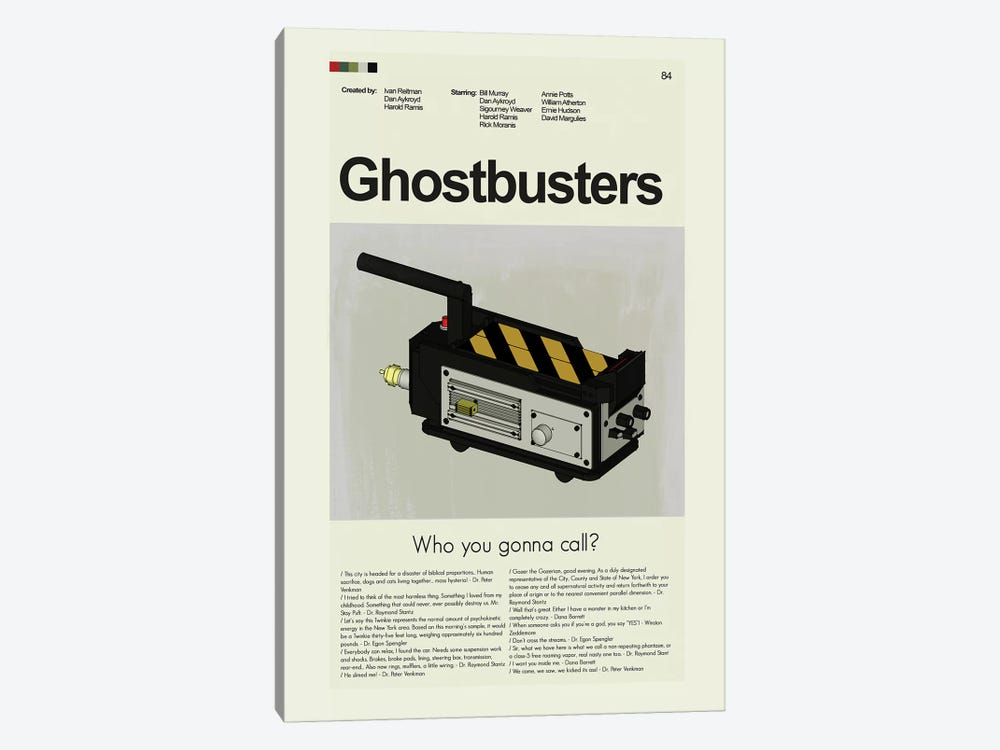 Ghostbusters by Prints and Giggles by Erin Hagerman 1-piece Canvas Artwork