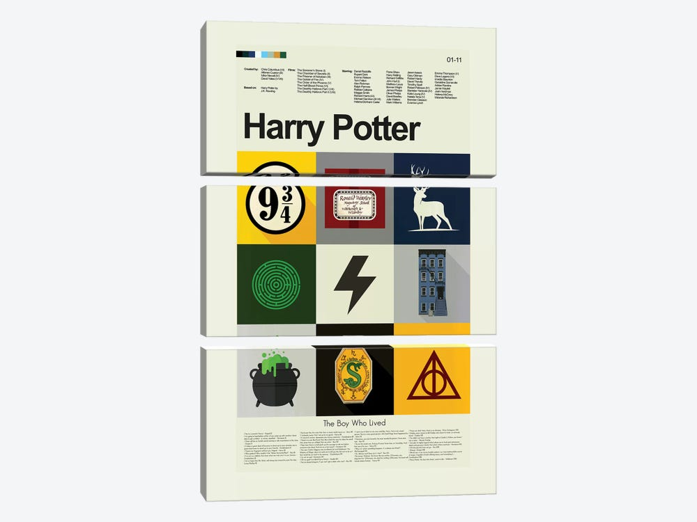 Harry Potter by Prints and Giggles by Erin Hagerman 3-piece Canvas Wall Art